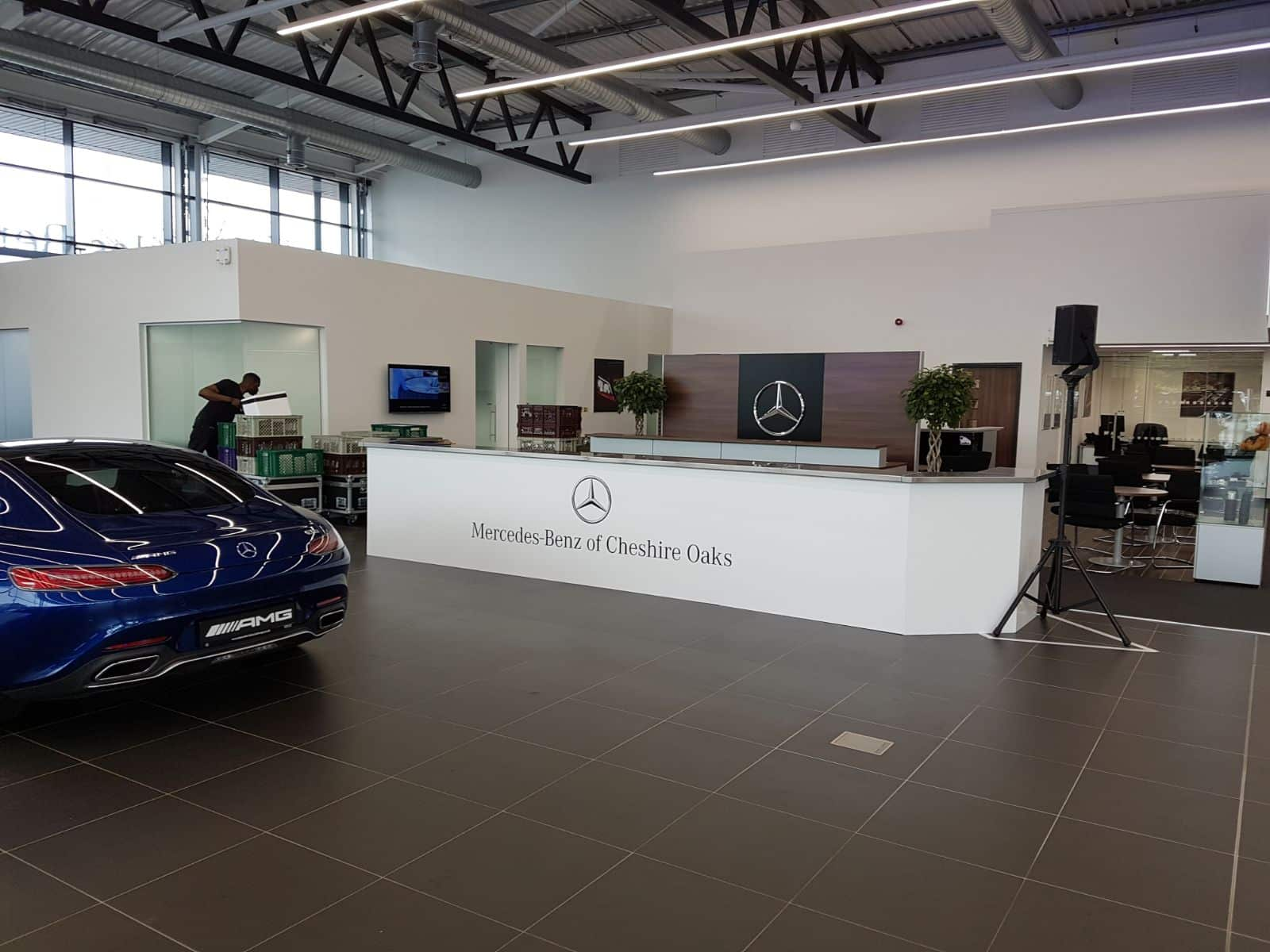 A branded mobile cocktail bar for a Mercedes Benz Dealership launch