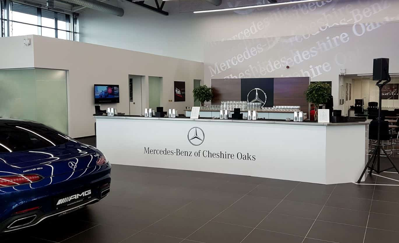 A branded cocktail bar for a Mercedes Benz Dealership launch