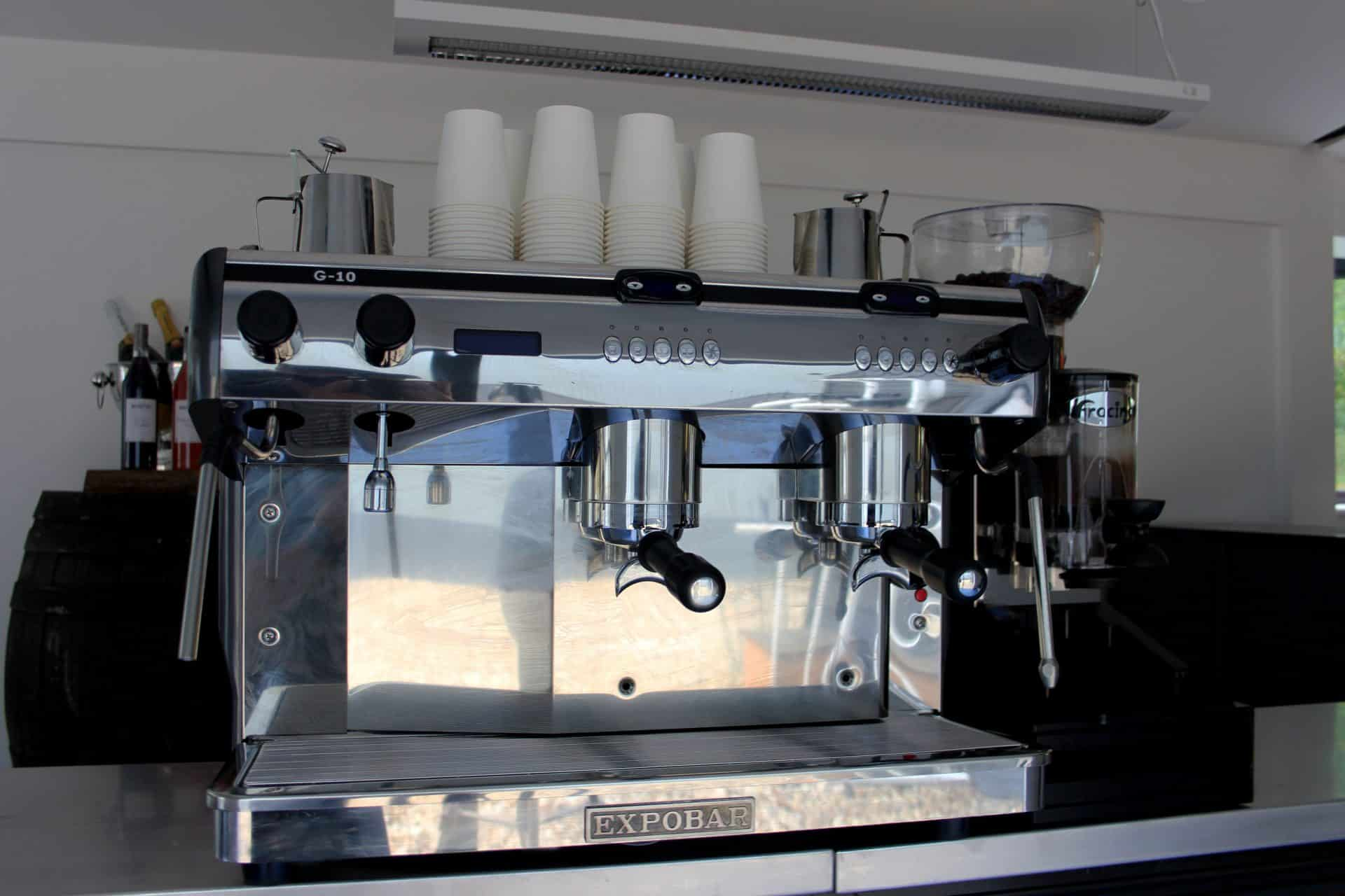 Mobile coffee machine set up at an event